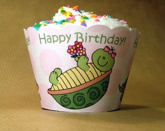 turtle girl birthday party cupcake wrappers decorations can be personalized - set of 12