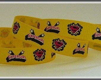5 Yards SUPERGIRL ON DAFFODIL 3/8 Grosgrain Ribbon (other colors also available)