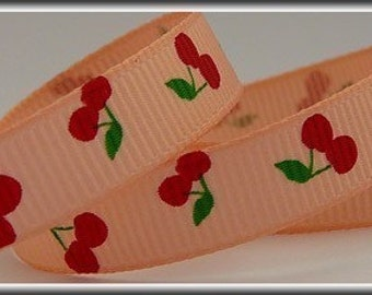 5 Yards CHERRIES ON PEACH Color 3/8 Grosgrain Ribbon (other colors also available)