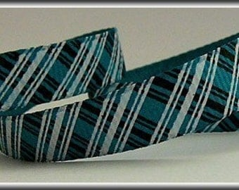 5 Yards Black and White PLAID ON MALLARD 3/8 Grosgrain Ribbon (other colors also available)