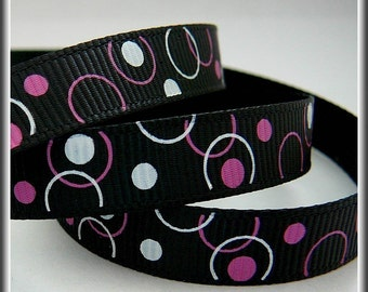 5 Yards HOT PINK and WHITE Circles on Black 3/8 Grosgrain Ribbon