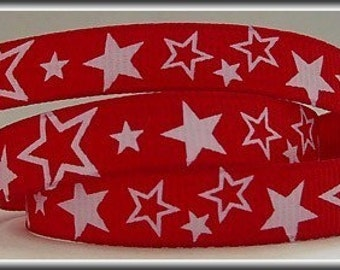 5 Yards WHITE STARS on Red 3/8 Grosgrain Ribbon (other colors also available)