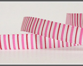 5 Yards Red and Pink Vertical Striped 3/8 Grosgrain Ribbon (other colors also available)