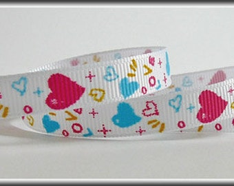 Lots of love and hearts on this 3/8 inch wide grosgrain ribbon, 5 yards