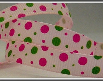 5 Yards Hot Pink and Green Dot Mix 3/8 Grosgrain Ribbon (other colors also available)