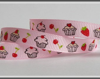 "5 Yards 3/8"" Grosgrain Ribbon - Strawberry Cupcakes on Pink Ribbon"