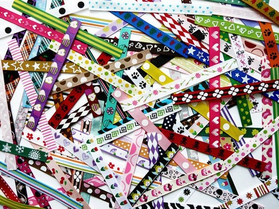 100 Assorted Pieces of Printed Grosgrain Ribbons for Alligator Clips