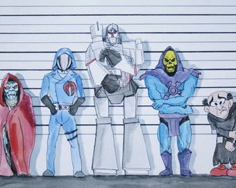 1980s Cartoon Villains Line Up, The Usual Suspects print various sizes