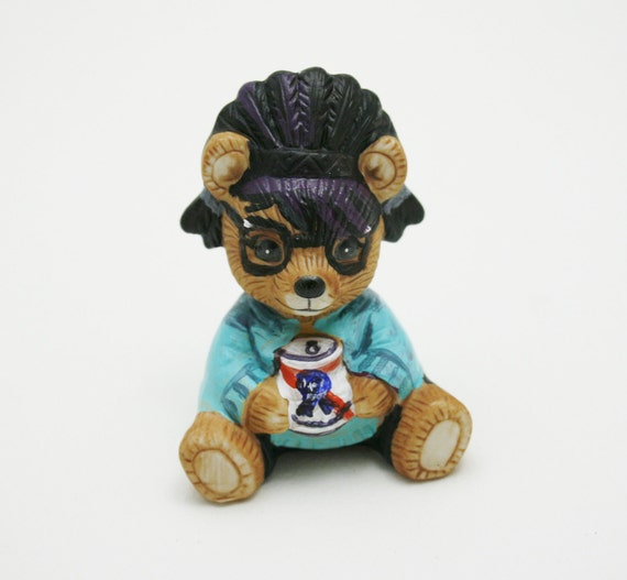 Hipster Bear with PBR Altered Ceramic Figurine, Hipster Friends Collection