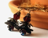 Vintage Purple Glass and Black Lucite Flower Dangle Earrings