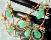 CLEARANCE - Chrysoprase, Blue Topaz, and Lemon Quartz Gold-filled Earrings - ''The Camryn Renee''