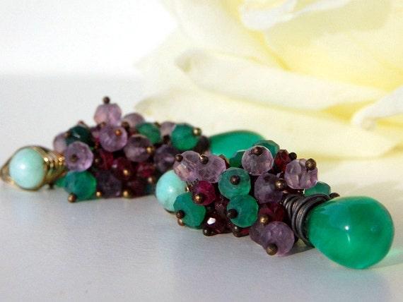 Green Quartz, Onyx, Pink Amethyst, Rhodolite Garnet, Chrysoprase Sterling Silver Earrings