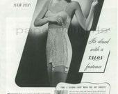 HARPERS BAZAAR 1939 Magazine Advertisement TALON Zipper Fastener for Corsets Girdles Foundation Garments