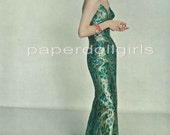 Magazine Advertisement Vogue 1956 Green Gold Satin Brocade Galanos Sheath Evening Dress
