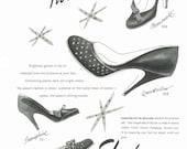Fashion Magazine Ad, Vogue UK 1953, Skyline, Clarks, Shoes, Fashion Illustration, Paper Ephemera, Ad, Wall Art
