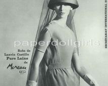Vintage French Vogue May 1962 Magazine Advertisement Ad Lanvin Castillo Wool Dress Haute Couture Paris
