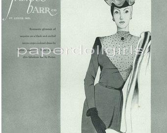 Vintage Fashion Magazine Ad Harpers Bazaar September 1945 Ad Nettie Rosenstein Dinner Dress with Hat by Reine