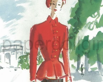 Vintage Fashion Magazine Ad L'Officiel de la Couture 1949 Pierre Balmain Suit Benito Fashion Illustration Illustrator