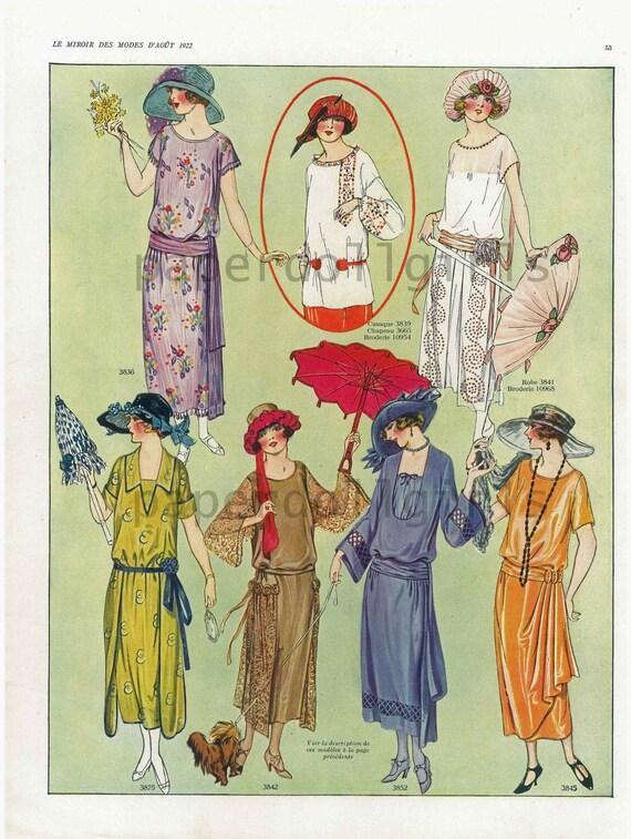 Paris la miroir des modes magazine advertisement lithograph for Miroir des modes prints