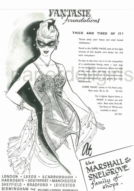 Fashion Magazine Ad, Vogue UK 1953, Fantasie Girdle, Lingerie, Simon Massey, Suit, Fashion Illustration, Paper Ephemera, Ad, Wall Art