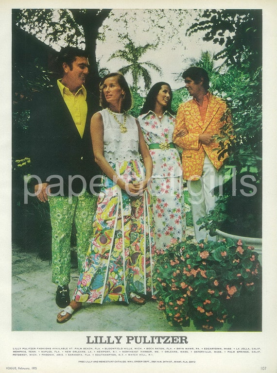 Fashion Magazine Ad, 1973, Vogue, Lily Pulitzer, Resort Wear, Floral, Paper Ephemera, Advertising, Wall Art