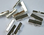 50pcs Clamps Crimp Ribbon End 19x5mm Silver-Plated Brass Smooth Finish