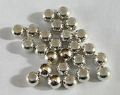 100pcs Metal Bead Silver Plated Brass Round 6mm Hole 2.5mm