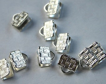 100pcs 10x6mm Clamps Crimp Ribbon End Silver-Plated Brass Textured Finish