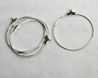 100pcs Earring Finding Beading Hoop Silver-Plated Brass 40mm