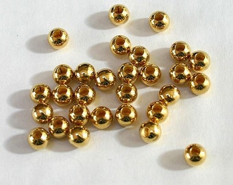 1000pcs Metal Beads Gold Plated Brass Round 6mm Large Hole 3mm