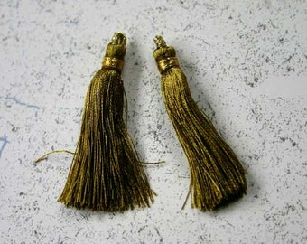 4pcs Tassel Charms Silk Imitation Olive Gold Colors 2 Pair 1 3/4 Inches