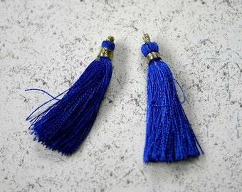 4pcs Tassel Charms Silk Imit  Blue Colors 2 Pair 1 3/4 Inches SALE