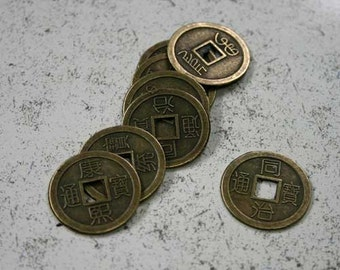 20pcs Charms Antiqued Brass Plated 25mm Chinese Coin