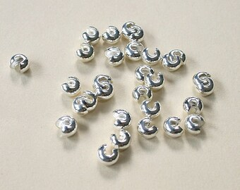 100pcs Crimp Cover Silver-Plated Brass Round 3mm Knot Covers Crimps