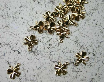24pcs Gold Plated 8x8mm Clover Shamrock Charms Drops