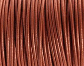2mm Leather Cord - Metallic Copper - 6 Feet Premium Quality Round Cording