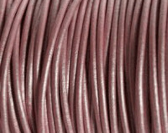 2mm Leather Cord - Metallic Mystique Pink- 6 Feet Premium Quality Round Cording