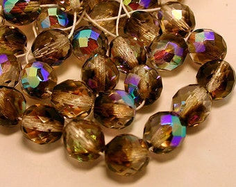 40pcs Fire-Polished 2-Tone Crystal/Smoke AB 10mm Bead Czech Glass Faceted Round