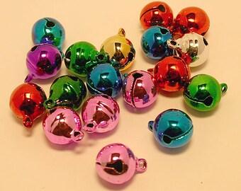 25pcs Jingle Bell Mix Charms Jewel Bright Tones 12mm Christmas Decor