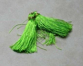 4pcs Tassel Charms Silk Imit  Light Green Colors 1 3/4 Inches