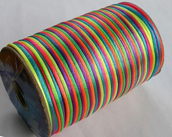 2mm 400-Foot Spool Satin Cord Multicolored Neon Confetti Cord