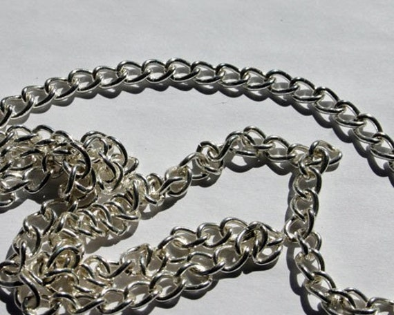 Craft chain 5 feet silver plated brass 13x9mm twisted for Craft chain by the foot