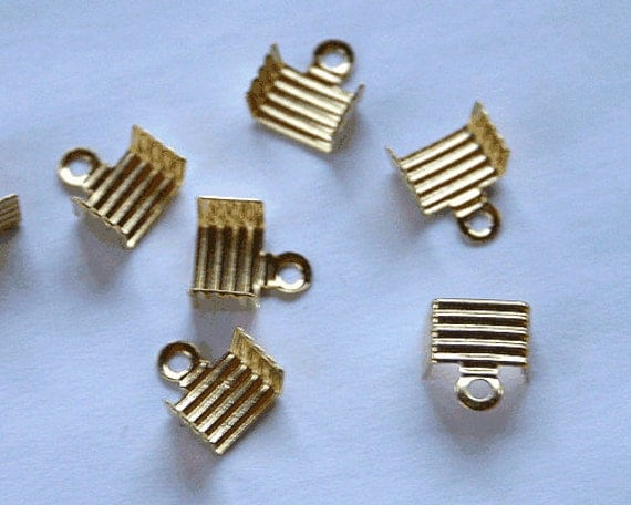 100pcs Cord End Gold-Plated Brass 6.5x4.5mm Fold Over 6mm Inside Diameter