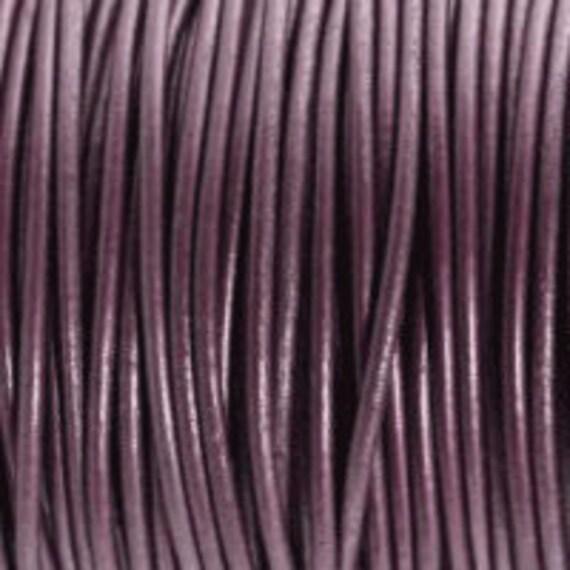 2mm Leather Cord - Metallic Berry Purple - 6 Feet Premium Quality Round Cording