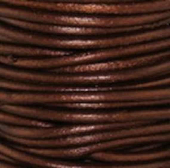 1.5mm Leather Cord - Tamba Metallic Brown- 3 Yards Premium Quality Round Cording