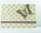 Handmade Greeting Card Happy Birthday - Butterfly, Pearl, Ribbon - OOAK