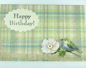 Handmade Greeting Card - Happy Birthday - Little Bird with Flower, Green Grunge Paper
