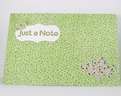 Handmade Card - Just a Note, Thinking of You - Floral on Green Dots Spring Fun
