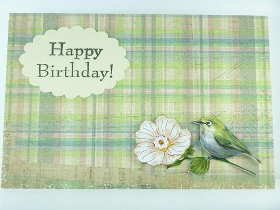Handmade Greeting Card - Happy Birthday - Little Bird with Flower, Green Grunge Paper