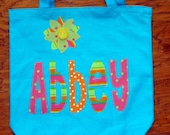Large Personalized Tote with flower applique - kids book bag girls library school custom birthday gift idea wedding flower girl beach purse